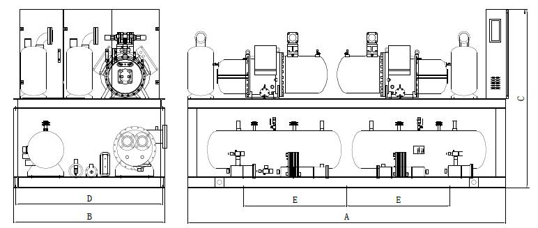 Double source heat pump unit indoor and outdoor unit Dimensions drawing